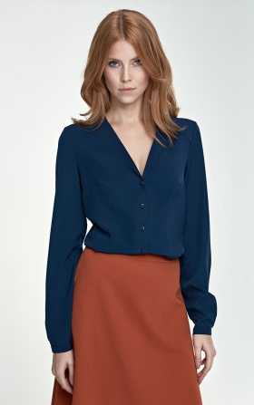 Shirt with an unusual collar - navy blue