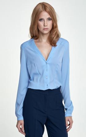 Koszula z nietypowym kołnierzem - błękit
