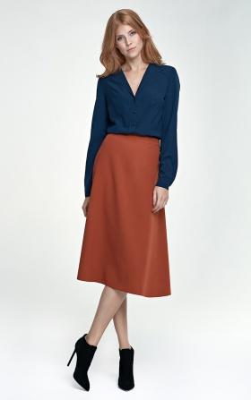 Elegancka spódnica Midi - rudy