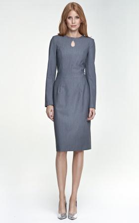 Szara sukienka z łezką na dekolcie