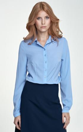 Delikatna błękitna bluzka koszulowa