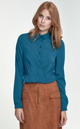 Delikatna bluzka koszulowa w butelkowej zieleni