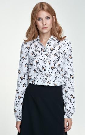 Delikatna bluzka - kwiaty/ecru