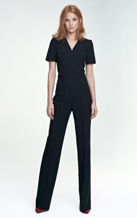 Jumpsuit with short sleeve - black