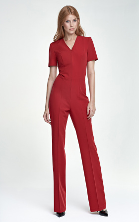 Jumpsuit with short sleeve - red