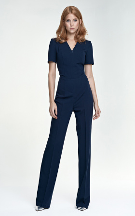 Jumpsuit with short sleeve - navy blue