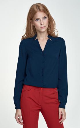 Granatowa bluzka z wycięciami na dekolcie