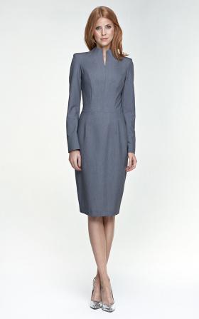 Klasyczna dopasowana szara sukienka