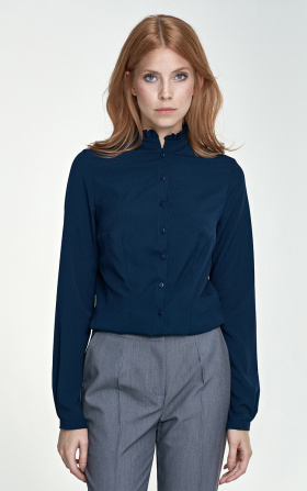 Blouse with a stand-up collar - navy blue