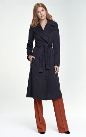 Długi płaszcz damski w kolorze grafitowym