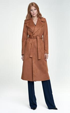 Elegancki płaszcz damski w pięknym karmelu