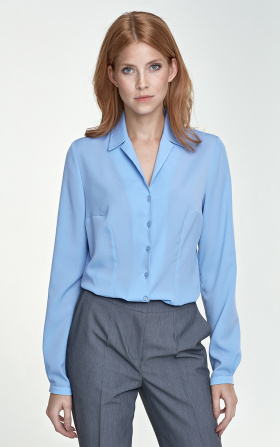 Blouse with a collar - blue