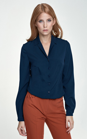 Blouse with a collar - navy blue