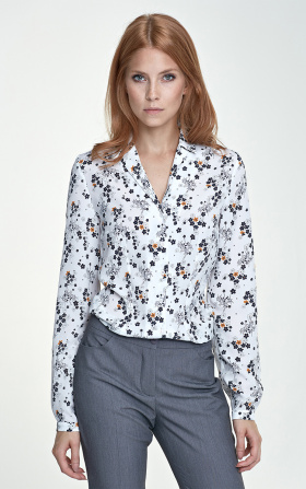 Blouse with a collar - flowers/ecru