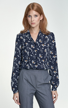 Blouse with a collar - flowers/navy blue