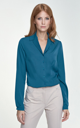 Blouse with a collar - green