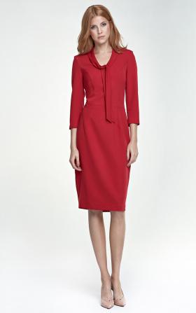 Sukienka z wiązaniem na dekolcie - czerwony