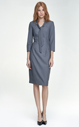Dress with a tie on the neckline - gray