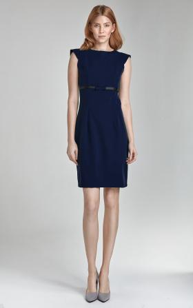 Granatowa sukienka z kokardką pod biustem