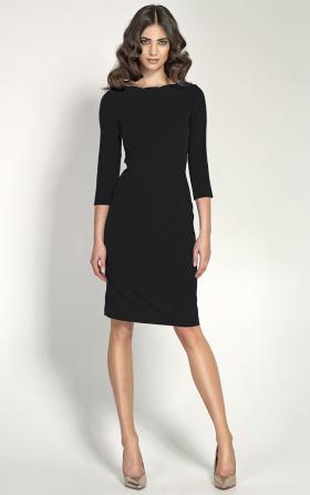 Czarna elegancka sukienka z falowanym dekoltem