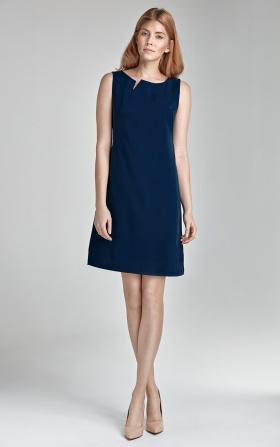 Sukienka z rozcięciem na dekolcie - bez rękawa - granat