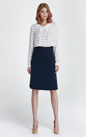 Granatowa spódnica trapezowa. Moda biurowa !