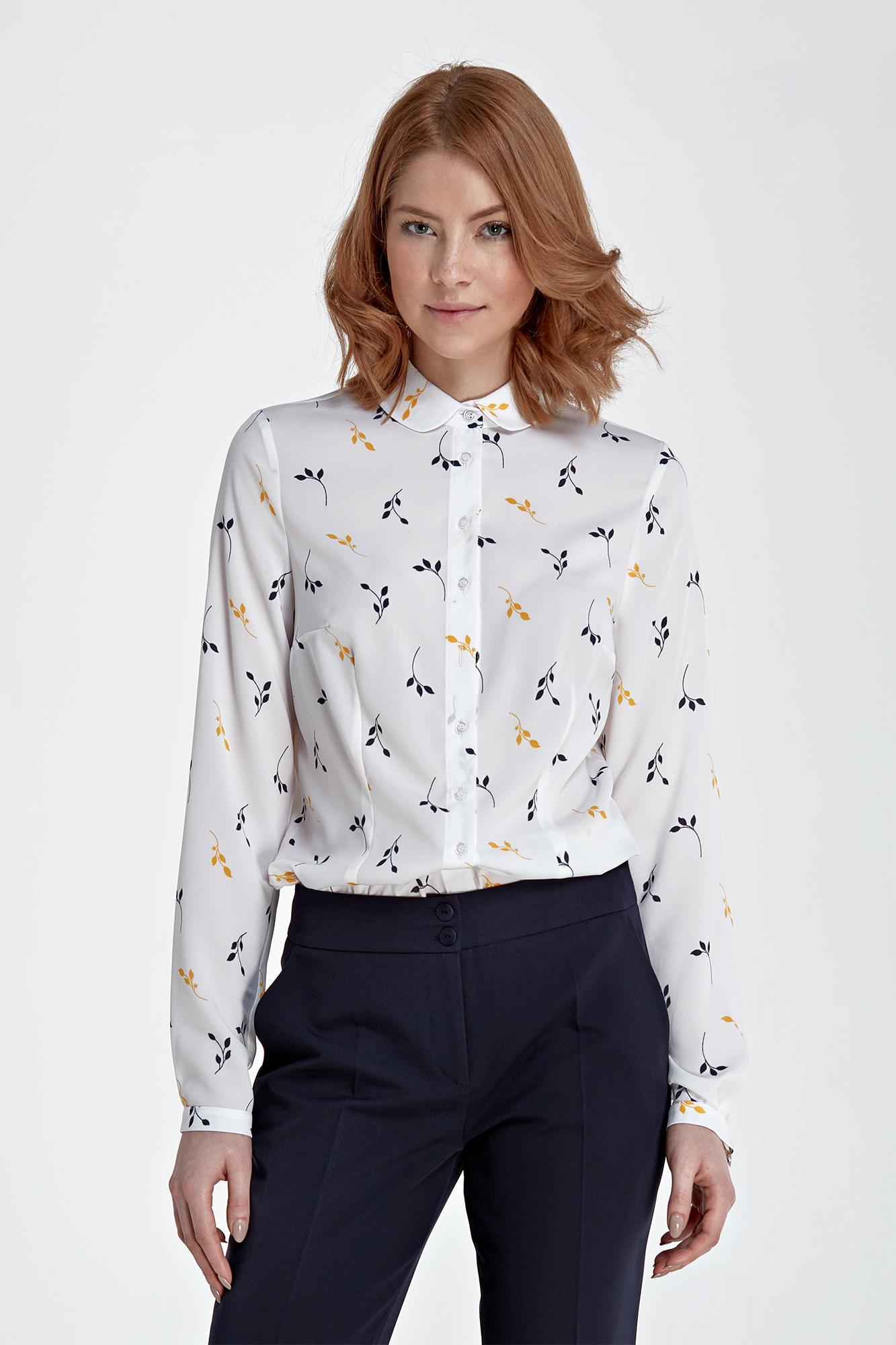 Bluzka z Kokardką przy Dekolcie Wzór Gałązka Koszule