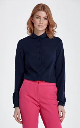 Granatowa bluzka z okrągłym kołnierzykiem