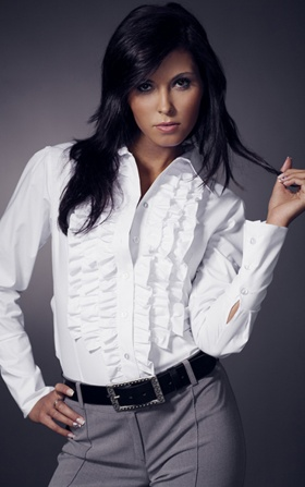 Shirt with ruffle long sleeve - white
