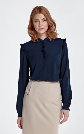 Granatowa bluzka z falbanką