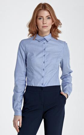 Koszula z asymetrycznym kołnierzykiem - niebieski