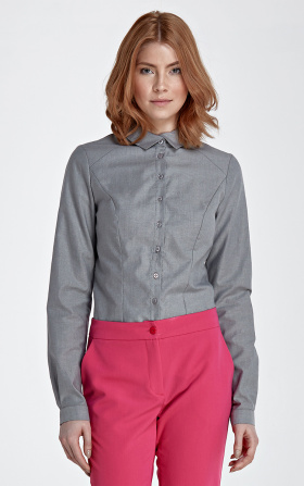 Shirt with an asymmetrical collar - gray