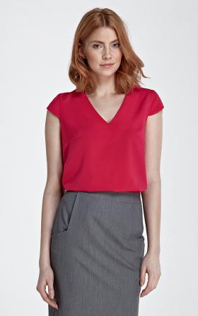 Bluzka z modnym dekoltem w kształcie litery V w kolorze fuksji
