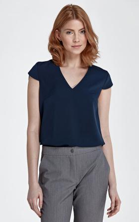 Bluzka z modnym dekoltem w kształcie litery V - granat