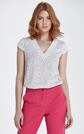 Blouse with fashionable V-shaped neckline - meadow