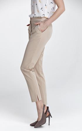 Eleganckie beżowe spodnie z rozcięciem