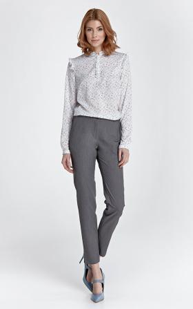 Eleganckie spodnie z rozcięciem - szary