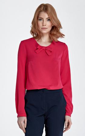 Bluzka z kokardą retro - fuksja