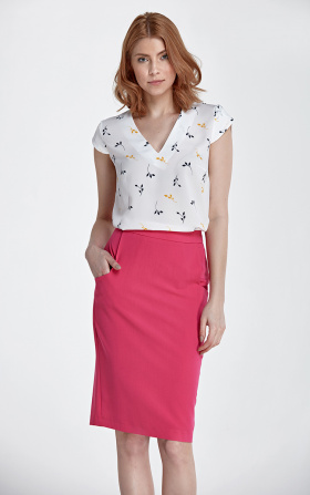 Tapered skirt with pockets - fuchsia