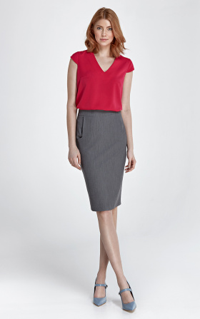 Tapered skirt with pockets - gray