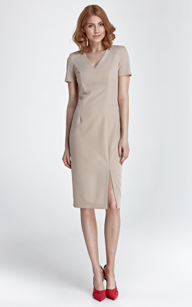 Dress with a zipper on the back - beige
