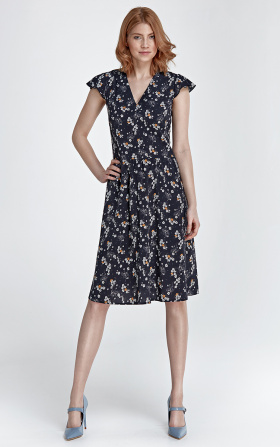 Delicate summer dress - flowers/navy blue