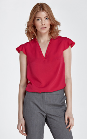 Blouse with frills on the shoulders - fuchsia