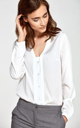 Ecru bluzka z pionową lamówką i guziczkami