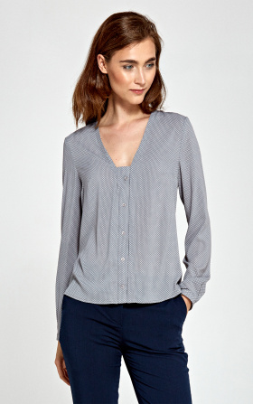 Blouse with vertical piping and buttons - gray/dots