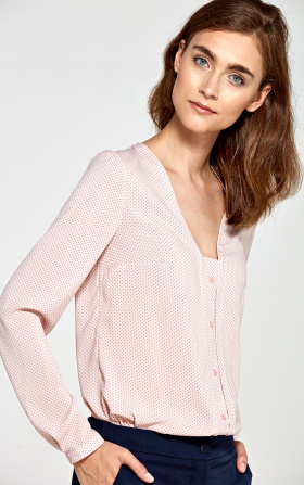Blouse with vertical piping and buttons - pink/dots