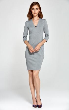 Szara dzianinowa sukienka z dekoltem V