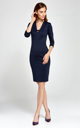 Knitted V-neckline dress - navy blue