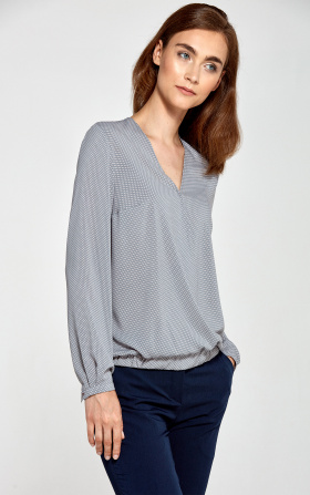Blouse with an envelope neckline - gray/dots