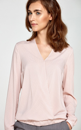 Blouse with an envelope neckline - pink/dots